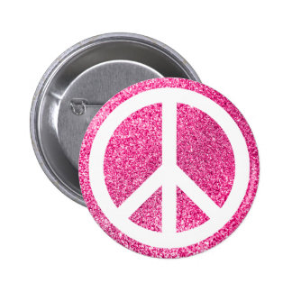 Pink Glitter and White Peace Symbol Button