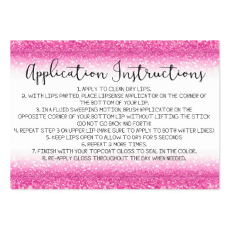 Pink Glitter Application Instructions Large Business Card