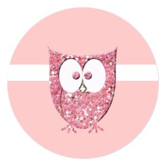Pink Glitter Baby Owl Round Shower Invitation