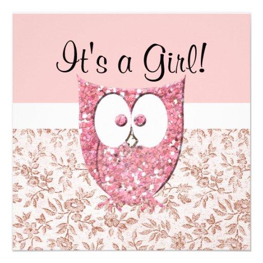 Pink Glitter Baby Owl Shower Invitation