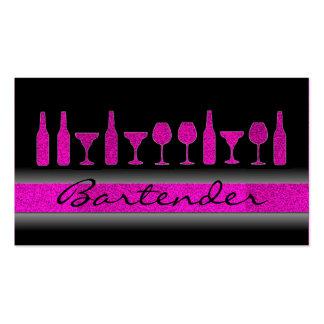 Pink glitter bartender drinks business card