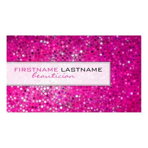 Pink Glitter Beautician Business Card Business Card