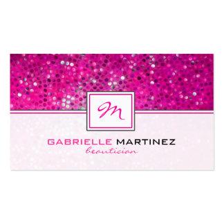 Pink Glitter Beautician Business Card Monogramed