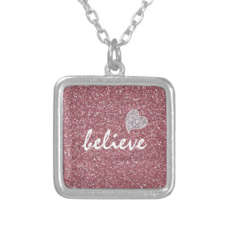 Pink Glitter Believe with Silver Heart Square Pendant Necklace