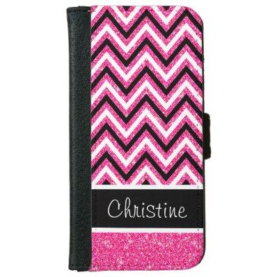 Pink Glitter Black Chevron iPhone 6 Wallet Case 5