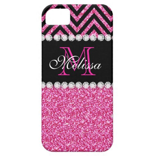 Pink Glitter Black Chevron Monogram Iphone 5 Covers