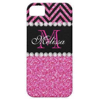 Pink Glitter Black Chevron Monogram iPhone SE/5/5s Case