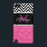 """PINK GLITTER BLACK CHEVRON MONOGRAM iPod TOUCH 5G COVER<br><div class=""""desc"""">GIRLY PINK GLITTER BLACK CHEVRON MONOGRAM. Elke Clarke© 2013. Original design. Available in other color combinations in our store Monogramgallery © at Zazzle. MODERN PINK GLITTER (PRINTED EFFECT) WITH BLACK AND WHITE CHEVRON PATTERN, MONOGRAMMED WITH YOUR NAME, YOUR INITIAL OR MONOGRAM ON A BLACK STRIPE OR BAND WITH A BORDER...</div>"""