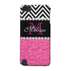 Pink Glitter Black Chevron Monogram Ipod Touch 5g Cover at Zazzle