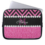 Pink Glitter Black Chevron Monogram Laptop Computer Sleeve