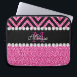 "Pink Glitter Black Chevron Monogram Laptop Sleeve<br><div class=""desc"">Pink Glitter Black Chevron Monogram Version 2. Elke Clarke&#169; 2013. Original design. Available in other color combinations in our store Monogramgallery &#169; at Zazzle. MODERN HOT PINK GLITTER (PRINTED PHOTO EFFECT) WITH BLACK AND PINK CHEVRON PATTERN, MONOGRAMMED WITH YOUR NAME, YOUR INITIAL OR MONOGRAM ON A BLACK STRIPE OR BAND...</div>"