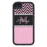 PINK GLITTER BLACK CHEVRON MONOGRAMMED COVER FOR iPhone 5