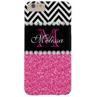 PINK GLITTER BLACK CHEVRON MONOGRAMMED BARELY THERE iPhone 6 PLUS CASE