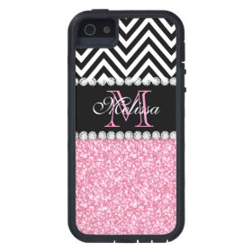 PINK GLITTER BLACK CHEVRON MONOGRAMMED iPhone 5 CASE