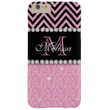 PINK GLITTER BLACK CHEVRON MONOGRAMMED BARELY THERE iPhone 6 PLUS CASE at Zazzle