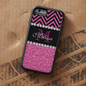 Pink Glitter Black Chevron MonogramMED Tough Xtreme iPhone 6 Case