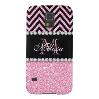 PINK GLITTER BLACK CHEVRON MONOGRAMMED CASES FOR GALAXY S5