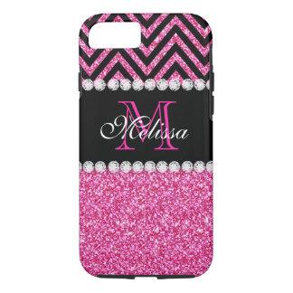 Pink Glitter Black Chevron MonogramMED iPhone 7 Case