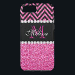 """Pink Glitter Black Chevron MonogramMED iPhone 8/7 Case<br><div class=""""desc"""">Pink Glitter Black Chevron Monogram Version 2. Elke Clarke &#169;. Original design. Available in other color combinations in our store Monogramgallery at Zazzle. MODERN HOT PINK GLITTER (PRINTED PHOTO EFFECT) WITH BLACK AND PINK CHEVRON PATTERN, MONOGRAMMED WITH YOUR NAME, YOUR INITIAL OR MONOGRAM ON A BLACK STRIPE OR BAND WITH...</div>"""