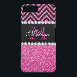 """Pink Glitter Black Chevron MonogramMED iPhone 8 Plus/7 Plus Case<br><div class=""""desc"""">Pink Glitter Black Chevron Monogram Version 2. Elke Clarke&#169; 2013. Original design. Available in other color combinations in our store Monogramgallery &#169; at Zazzle. MODERN HOT PINK GLITTER (PRINTED PHOTO EFFECT) WITH BLACK AND PINK CHEVRON PATTERN, MONOGRAMMED WITH YOUR NAME, YOUR INITIAL OR MONOGRAM ON A BLACK STRIPE OR BAND...</div>"""