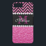 "Pink Glitter Black Chevron MonogramMED iPhone 8 Plus/7 Plus Case<br><div class=""desc"">Pink Glitter Black Chevron Monogram Version 2. Elke Clarke&#169; 2013. Original design. Available in other color combinations in our store Monogramgallery &#169; at Zazzle. MODERN HOT PINK GLITTER (PRINTED PHOTO EFFECT) WITH BLACK AND PINK CHEVRON PATTERN, MONOGRAMMED WITH YOUR NAME, YOUR INITIAL OR MONOGRAM ON A BLACK STRIPE OR BAND...</div>"