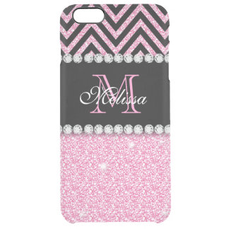 PINK GLITTER BLACK CHEVRON MONOGRAMMED UNCOMMON CLEARLY™ DEFLECTOR iPhone 6 PLUS CASE