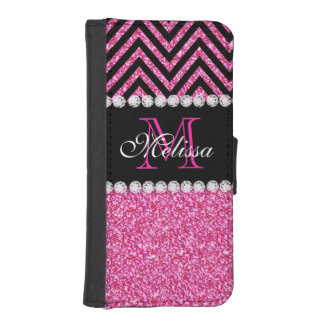 Pink Glitter Black Chevron MonogramMED iPhone SE/5/5s Wallet Case