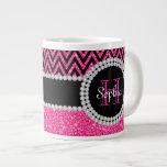 Pink Glitter Black Chevron Monogrammed Jumbo Mug