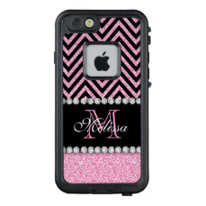 Pink Glitter Black Chevron Monogrammed LifeProof FRĒ iPhone 6/6s Case