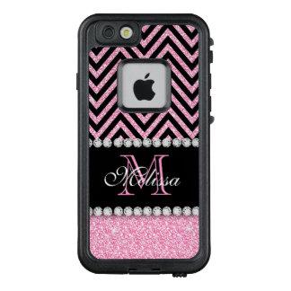 Pink Glitter Black Chevron Monogrammed LifeProof FRĒ iPhone 6/6s Case