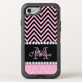 PINK GLITTER BLACK CHEVRON MONOGRAMMED OtterBox DEFENDER iPhone 7 CASE