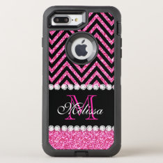 Pink Glitter Black Chevron Monogrammed Otterbox Defender Iphone 7 Plus Case at Zazzle