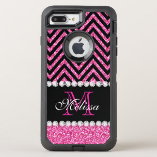 Pink Glitter Black Chevron Monogrammed OtterBox Defender iPhone 7 Plus Case