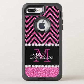 Pink Glitter Black Chevron Monogrammed OtterBox Defender iPhone 7 Plus Case