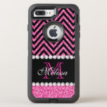 "Pink Glitter Black Chevron Monogrammed OtterBox Defender iPhone 8 Plus/7 Plus Case<br><div class=""desc"">Pink Glitter Black Chevron Monogram Version 2. Elke Clarke &#169;. Original design. Available in other color combinations in our store Monogramgallery &#169; at Zazzle. MODERN HOT PINK GLITTER (PRINTED PHOTO EFFECT) WITH BLACK AND PINK CHEVRON PATTERN, MONOGRAMMED WITH YOUR NAME, YOUR INITIAL OR MONOGRAM ON A BLACK STRIPE OR BAND...</div>"