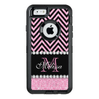 PINK GLITTER BLACK CHEVRON MONOGRAMMED OtterBox DEFENDER iPhone CASE