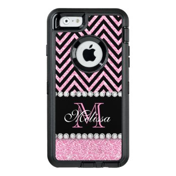 Pink Glitter Black Chevron Monogrammed Otterbox Defender Iphone Case by monogramgallery at Zazzle