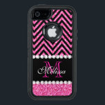 """Pink Glitter Black Chevron Monogrammed OtterBox Defender iPhone Case<br><div class=""""desc"""">Pink Glitter Black Chevron Monogram Version 2. Elke Clarke &#169;. Original design. Available in other color combinations in our store Monogramgallery &#169; at Zazzle. MODERN HOT PINK GLITTER (PRINTED PHOTO EFFECT) WITH BLACK AND PINK CHEVRON PATTERN, MONOGRAMMED WITH YOUR NAME, YOUR INITIAL OR MONOGRAM ON A BLACK STRIPE OR BAND...</div>"""