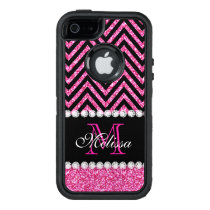 Pink Glitter Black Chevron Monogrammed OtterBox Defender iPhone Case