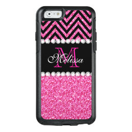 Pink Glitter Black Chevron Monogrammed OtterBox iPhone 6/6s Case