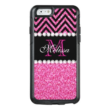 Pink Glitter Black Chevron Monogrammed Otterbox Iphone 6/6s Case by monogramgallery at Zazzle