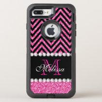 Pink Glitter Black Chevron Monogrammed OtterBox Defender iPhone 8 Plus/7 Plus Case