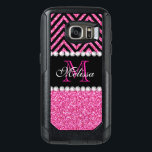 "Pink Glitter Black Chevron Monogrammed OtterBox Samsung Galaxy S7 Case<br><div class=""desc"">Pink Glitter Black Chevron Monogram Version 2. Elke Clarke &#169;. Original design. Available in other color combinations in our store Monogramgallery &#169; at Zazzle. MODERN HOT PINK GLITTER (PRINTED PHOTO EFFECT) WITH BLACK AND PINK CHEVRON PATTERN, MONOGRAMMED WITH YOUR NAME, YOUR INITIAL OR MONOGRAM ON A BLACK STRIPE OR BAND...</div>"