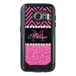Pink Glitter Black Chevron Monogrammed OtterBox Samsung Galaxy S7 Case<br><div class='desc'>Pink Glitter Black Chevron Monogram Version 2. Elke Clarke &#169;. Original design. Available in other color combinations in our store Monogramgallery &#169; at Zazzle. MODERN HOT PINK GLITTER (PRINTED PHOTO EFFECT) WITH BLACK AND PINK CHEVRON PATTERN, MONOGRAMMED WITH YOUR NAME, YOUR INITIAL OR MONOGRAM ON A BLACK STRIPE OR BAND...</div>