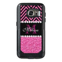 Pink Glitter Black Chevron Monogrammed OtterBox Samsung Galaxy S7 Case