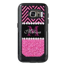 Pink Glitter Black Chevron Monogrammed Otterbox Samsung Galaxy S7 Case at Zazzle