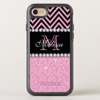 PINK GLITTER BLACK CHEVRON MONOGRAMMED OtterBox SYMMETRY iPhone 7 CASE