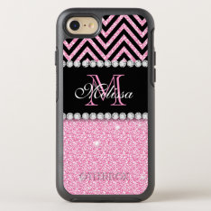 Pink Glitter Black Chevron Monogrammed Otterbox Symmetry Iphone 7 Case at Zazzle