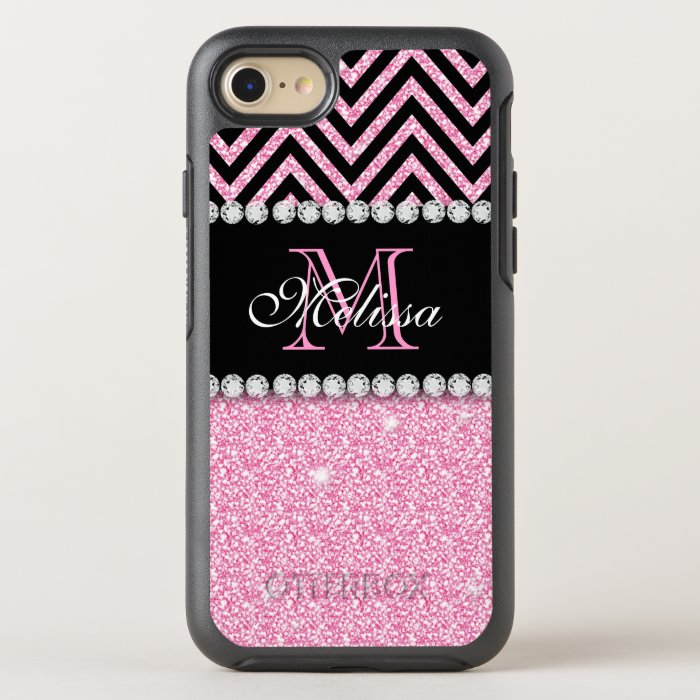pink glitter black chevron monogrammed otterbox symmetry
