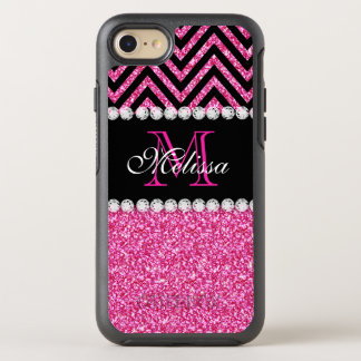 Pink Glitter Black Chevron Monogrammed OtterBox Symmetry iPhone 8/7 Case
